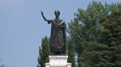 Tilt shot of Virgil statue, Mantua Stock Footage