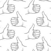 Seamless pattern hand showing symbol like. Making thumb up gesture. Drawn design Stock Illustration