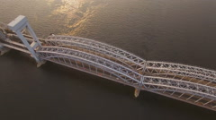 Finland Railway Bridge across the Neva River Stock Footage