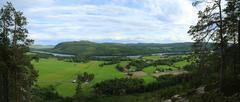 Outlook on agricultural landscape from mount Krokvaag in Sweden - stock photo