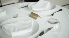4K Reserved dinner or coffee restaurant table Stock Footage