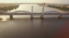 Beautiful aerial view of the railway bridge across the river Stock Footage