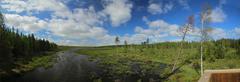 Panoramic outlook over a Swedish lake near Tullingsaas Stock Photos