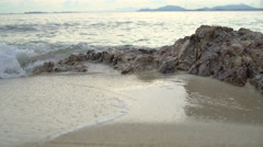 Foamy sea wave on sandy beach 4k UHD (3840x2160) Stock Footage