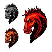 Fire flaming horse symbol for equestrian sport Stock Illustration