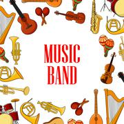 Musical instruments placed around text Music Band Piirros
