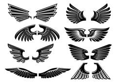 Tribal angel wings for heraldry or tattoo design Piirros