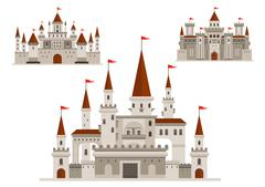 Fortified castle, fairy palace and fortress - stock illustration