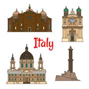 Travel landmarks of Italy, thin line icons Stock Illustration