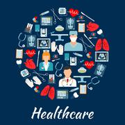 Healthcare and surgery icons in a circle shape - stock illustration