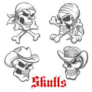 Sketched pirate, cowboy and sheriff - stock illustration