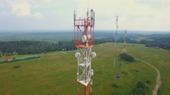 Aerial view of Antenna telecommunication tower Stock Footage