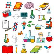 Physics, chemistry, medicine science research icon Stock Illustration
