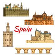 Historical travel landmarks of Spain linear symbol Stock Illustration