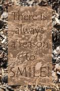 Vertical Autumn Card, Quote Always Reason To Smile Stock Photos