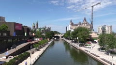 Rideau Canal in Ottawa, Canada Stock Footage