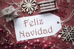 Nostalgic Decoration, Label With Feliz Navidad Means Merry Christmas Stock Photos