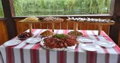 Tasty boiled crayfishes on table Stock Footage