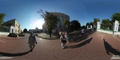 360Vr Video Man Enters Courtyard of Monastery Alcove Park Kiev City Day Stock Footage