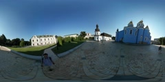 360Vr Video Man Refectory Church of St. John Michael's Monastery Mikhailovskaya Stock Footage