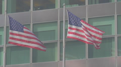AMERICAN FLAGS CORPORATE OFFICE BUILDING SLOW MOTION Stock Footage