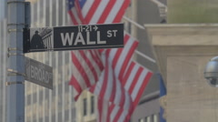 WALL STREET STREET SIGN FLAGS SLOW MOTION Stock Footage