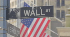 4K WALL STREET STREET SIGN AMERICAN FLAGS- Stock Footage