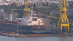 A Containers Ship embarked in Valletta's Harbor Malta Stock Footage