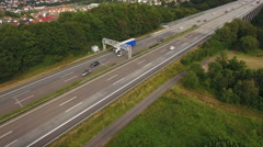 German LKW-Maut, electronic toll control gantry Stock Footage