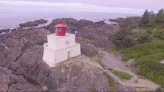 The Wild Pacific Trail- Ucluelet Lighthouse Aerial  1 Stock Footage