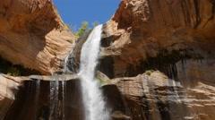 Lower calf creek falls in the desert of Southern Utah - stock footage