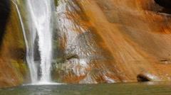 Slow Motion beautiful lower calf creek falls in desert of Utah Stock Footage