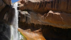 Slow Motion of a beautiful lower calf creek falls in a desert of Utah Stock Footage
