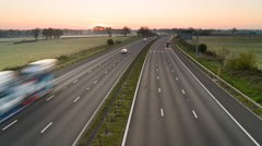 Sunrise over M4 motorway, Wiltshire, UK Stock Footage