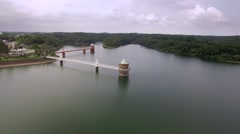 Aerial footage of fresh green in the morning at Sayama lake, Saitama Prefecture Stock Footage