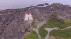 The Wild Pacific Trail- Ukee Ucluelet Lighthouse Aerial  2 Stock Footage