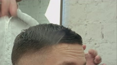 Men's haircut at the barber scissors Stock Footage
