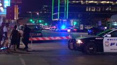 Dallas Police Shooting Crime Scene Police Car Stock Footage
