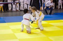 Orenburg, Russia - 16 April 2016: Girls compete in Judo Stock Photos