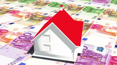 4k rotate house on the eur background,business investment,real-estate. Stock Footage