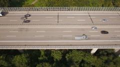 Aerial view of a highway bridge, German motorway A3 Stock Footage