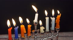 Jewish holiday hannukah symbols - menorah Stock Footage