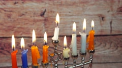 Hanukah candles celebrating the Jewish holiday Stock Footage