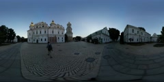360Vr Video Tourist Nearby Dormition Cathedral Kiev Old Cobblestone Square - stock footage