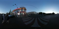 360Vr Video Men on Crosswalk Evening Square Kiev City Day Old and Modern Stock Footage