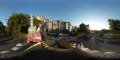360Vr Video Kid's Playground in Kiev City Day Kids Climbing up the Stairs - stock footage