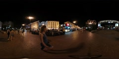 360Vr Video Young People at Night Kiev Square City Day Illuminated Old Stock Footage