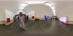 360Vr Video Man at Underground Station is Walking to Moving Staircase Kiev City Stock Footage