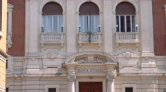 Facade of the Bank of Italy in Mantua Stock Footage