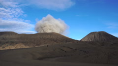 View of active smoking Bromo volcano Stock Footage